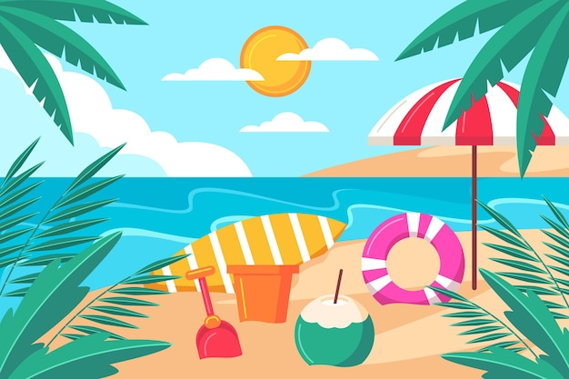 Videocalls에 대한 유기 평면 여름 배경
