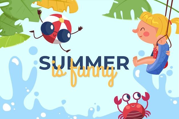 有機フラット夏の背景