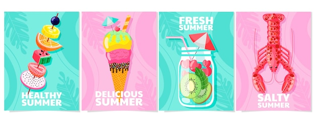 Organic flat summer cards collection