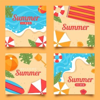 Коллекция органических плоских летних открыток