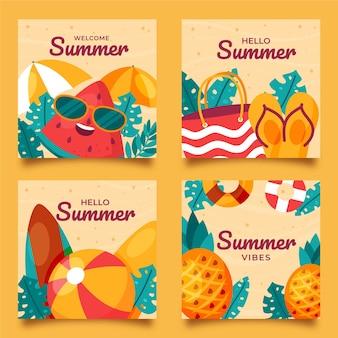 Collezione di carte estive piatte organiche