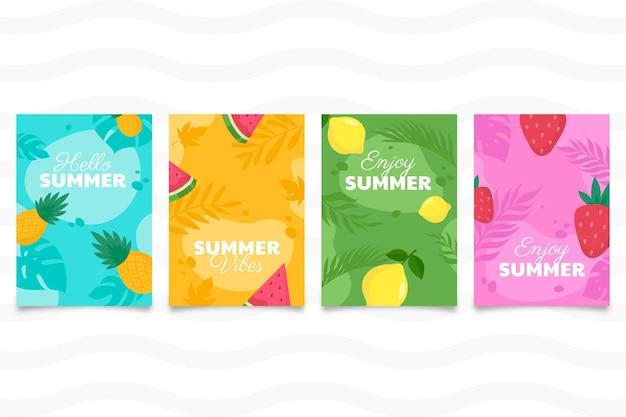 유기 평면 여름 카드 컬렉션
