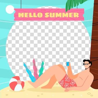 有機フラット夏のfacebookフレームテンプレート