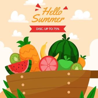 Органическая плоская летняя иллюстрация