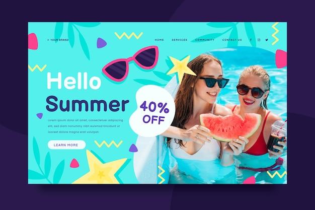 Органический плоский летний шаблон целевой страницы с фото