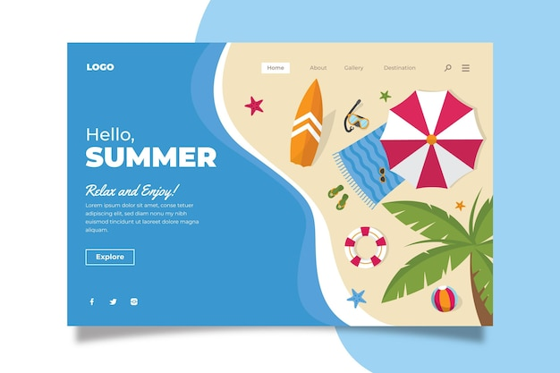 Modello di pagina di destinazione estiva piatta organica