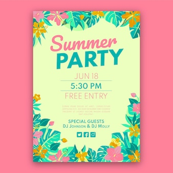 Шаблон плаката органической плоской летней вечеринки