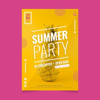 Organic flat summer party vertical poster template with photo