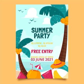 Organic flat summer party vertical poster template