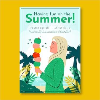 Органическая плоская летняя вечеринка вертикальный шаблон плаката