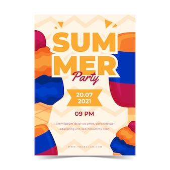 有机平的夏天党垂直的海报模板