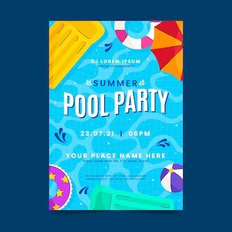 유기 평면 여름 파티 수직 포스터 템플릿