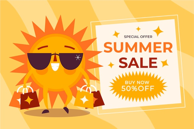 Органическая плоская летняя распродажа иллюстрация