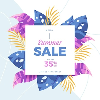 Organic flat summer sale illustration