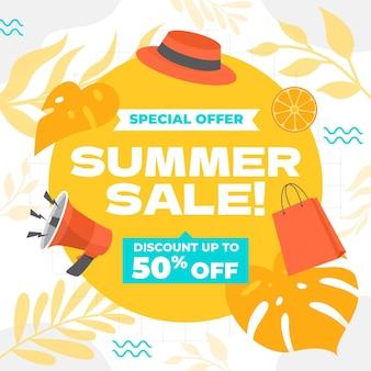 Organic flat summer sale illustration