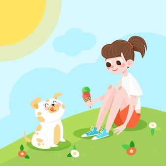 유기 평면 여름 장면 그림