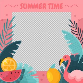 Органический плоский летний шаблон рамки в социальных сетях