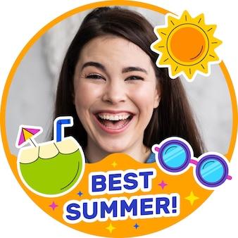 Organic flat summer social media frame template