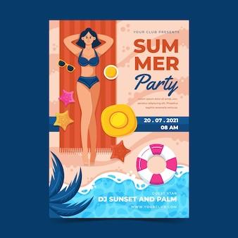 유기 평면 여름 수직 파티 포스터 템플릿