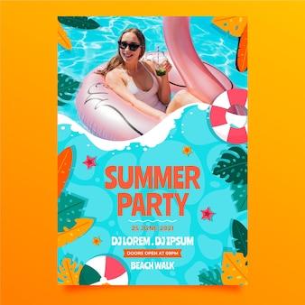 Organic flat summer vertical party poster template