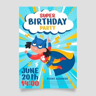 Органический плоский шаблон приглашения на день рождения супергероя