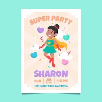有機フラットスーパーヒーローの誕生日の招待状のテンプレート