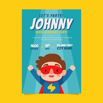 Organic flat superhero birthday invitation template