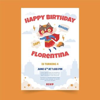 Органическое плоское приглашение на день рождения супергероя