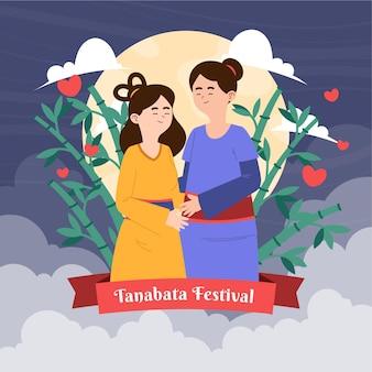 Organic flat tanabata illustration