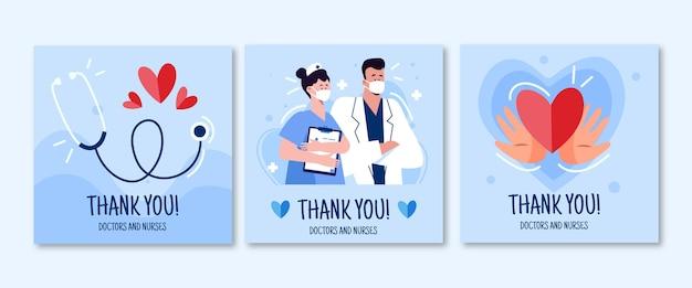 유기 평면 감사 의사와 간호사 엽서 팩