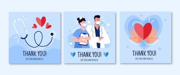 Organic flat thank you doctors and nurses postcard pack