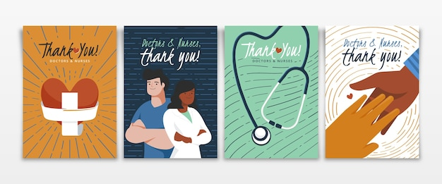 Organic flat thank you doctors and nurses postcards