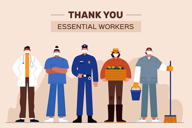 Organic flat thank you essential workers illustration