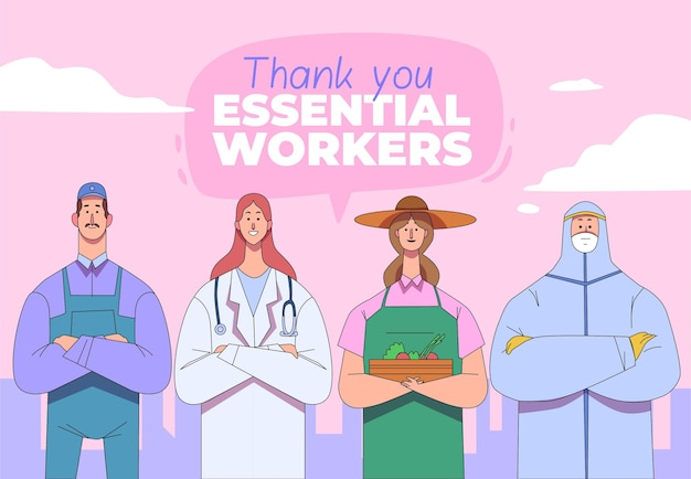 Organic flat thank you essential workers