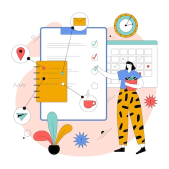 Organic flat time management illustration