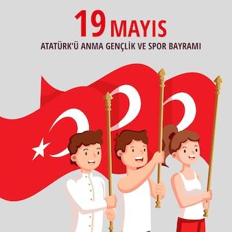 Commemorazione turca piana organica dell'illustrazione di ataturk, della gioventù e dello sport
