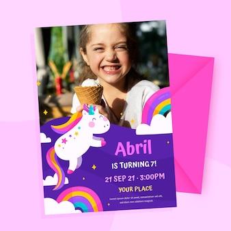 Organic flat unicorn birthday invitation with photo template