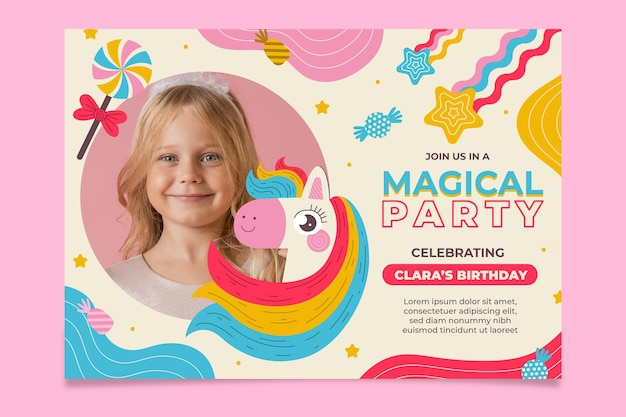 Organic flat unicorn birthday invitation with photo