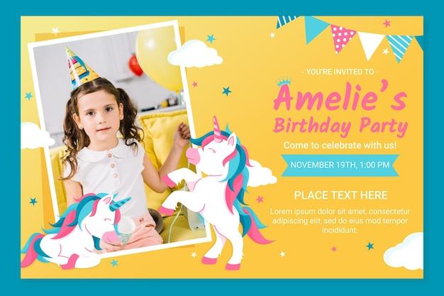 Органическое плоское приглашение на день рождения единорога