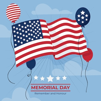 Illustrazione di memorial day usa piatto organico