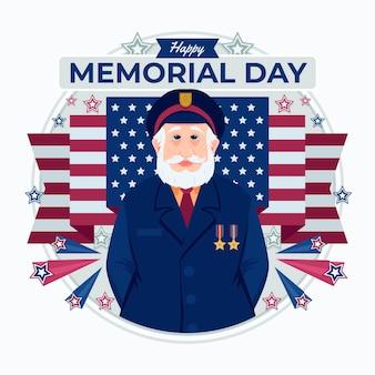 Illustrazione di memorial day usa piatto organico
