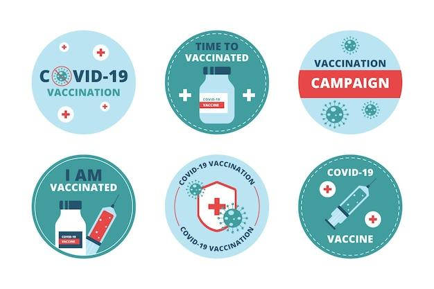 Collezione di badge campagna di vaccinazione biologica piatta