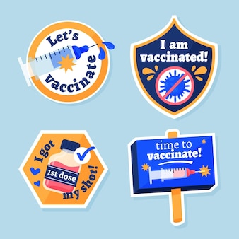 Organic flat vaccination campaign badge collection
