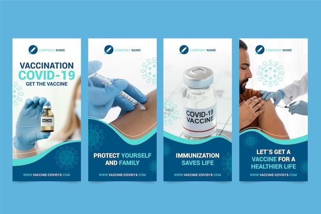 Organic flat vaccine instagram stories collection