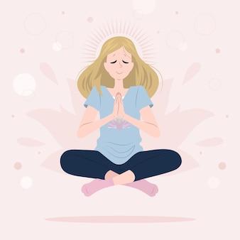Organic flat woman meditating