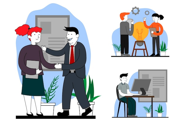 Illustrazione di scena del giorno lavorativo piatto organico