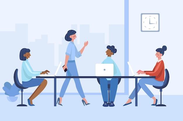 Органическая плоская иллюстрация сцены рабочего дня
