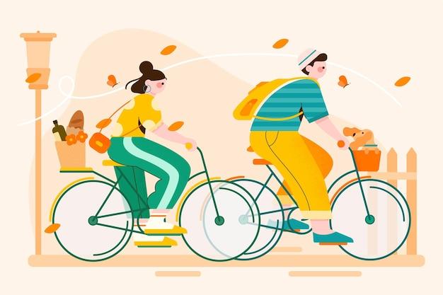 Органический плоский мир велосипедного дня иллюстрация