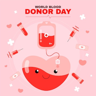 Organic flat world blood donor day illustration