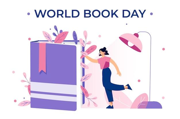 Органическая плоская иллюстрация всемирного дня книги